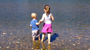 siblings walking hand in hand